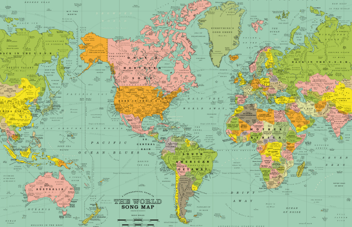 This World Map Is Made Of 1 200 Songs Including Tracks From Green