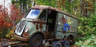 Aerosmith van in woods