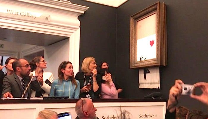 Banksy painting was supposed to get fully shredded, duh