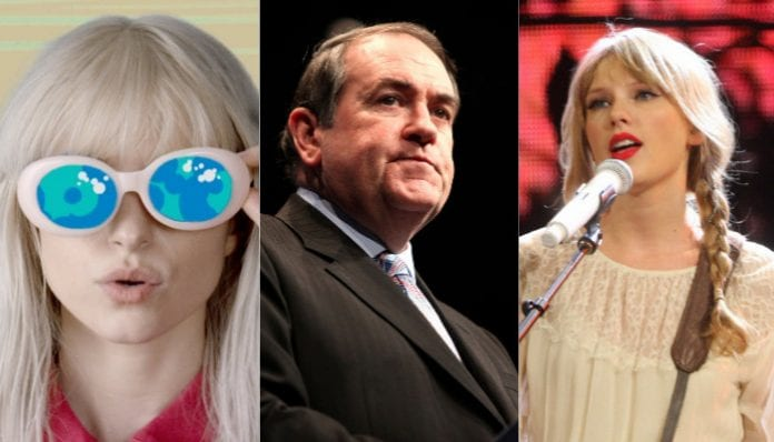 Hayley Williams, Taylor Swift and Mike Huckabee