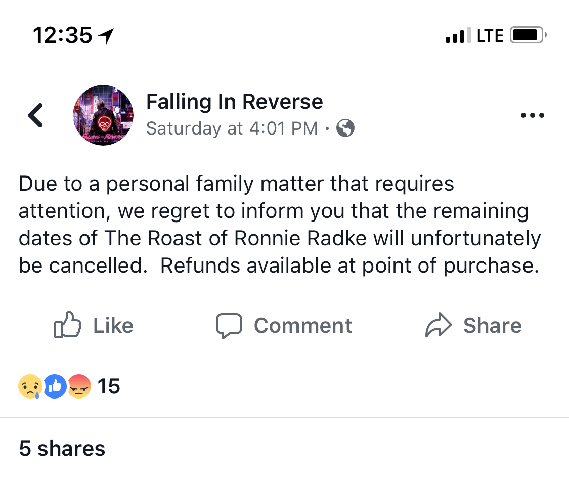 falling in revrese roast of ronnie radke