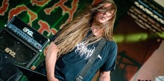 Cannibal Corpse guitarist Pat O'Brien performing live.