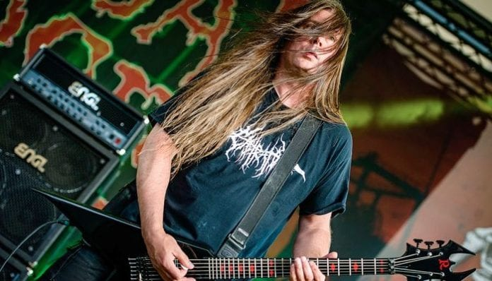 Cannibal Corpse guitarist Pat O'Brien performing live.