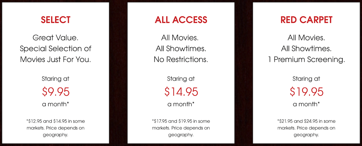 moviepass subscription tiers