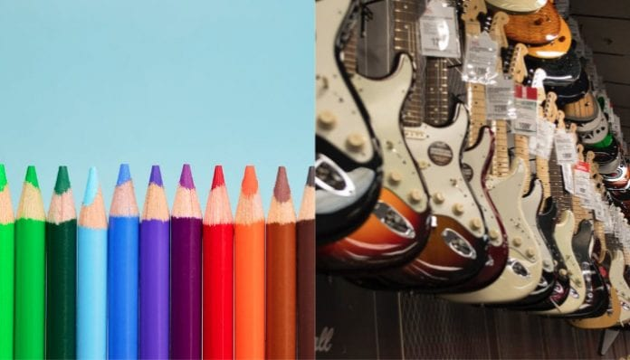 A guitar made from colored pencils?