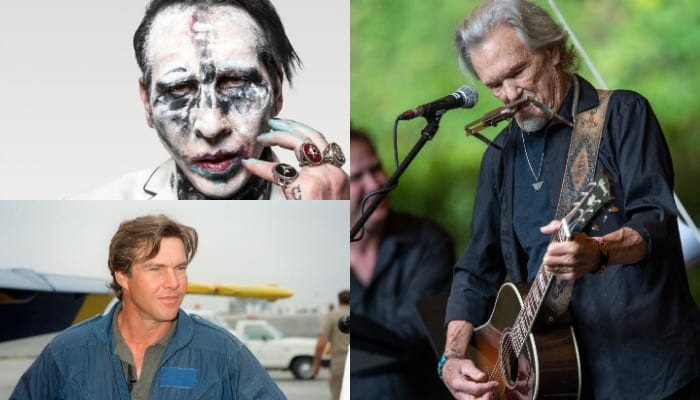 See Marilyn Manson, Dennis Quaid perform with Kris Kristofferson for some reason
