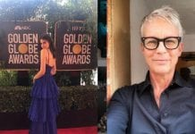 Jamie Lee Curtis is not amused by Fiji Water Girl's Golden Globes stunt