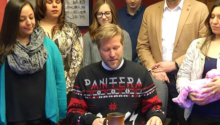 Heavy Metal Christmas Sweater 2019 Metalhead mayor sports Pantera Christmas sweater at bill signing