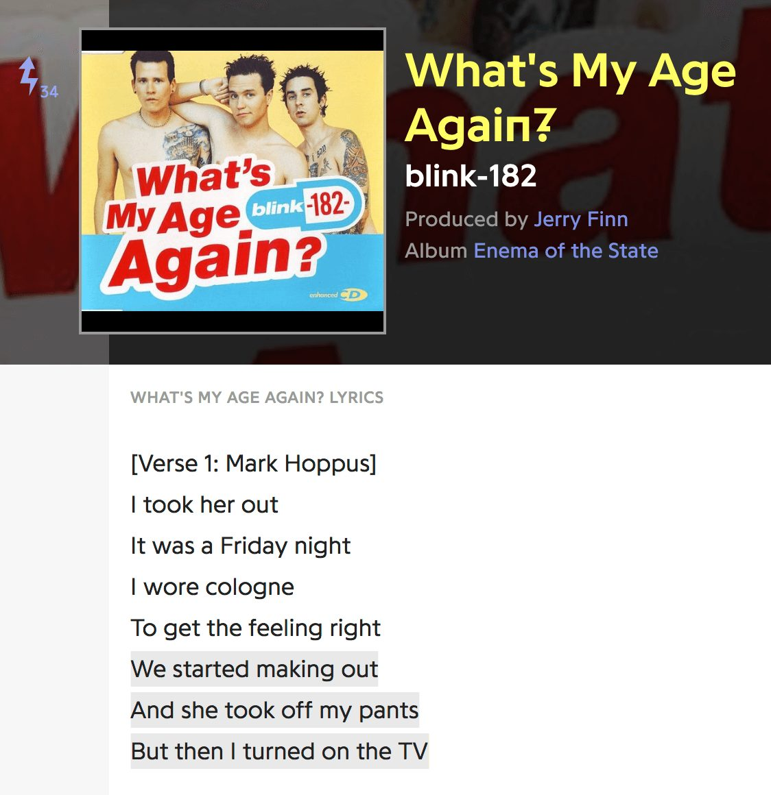 blink 182 whats my age again lyrics