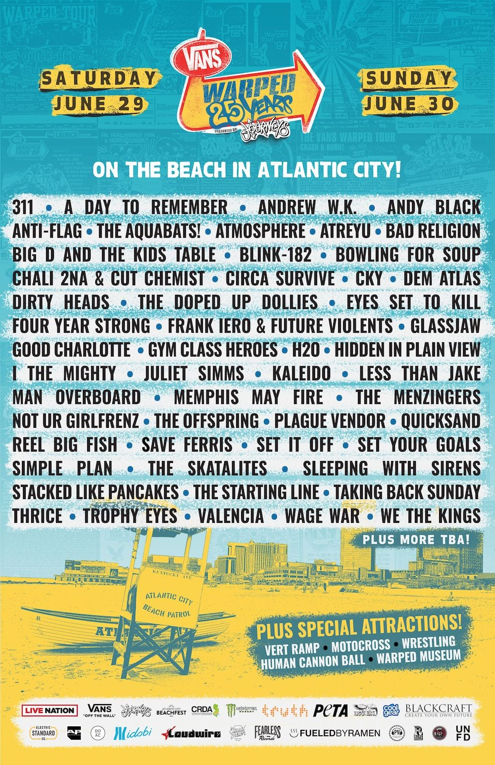 warped tour 25th anniversary atlantic city