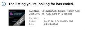 Avengers: Endgame eBay tickets