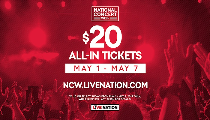 Live Nation is offering $20 tickets for National Concerts Week