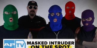 masked intruder, on the spot