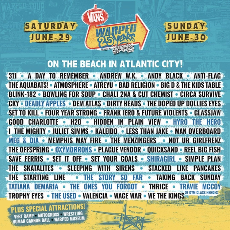 warped tour atlantic city lineup