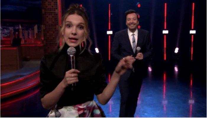 Millie Bobby Brown sings Panic! At The Disco, Gwen Stefani on 'Fallon'