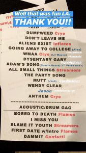 blink-182 setlist