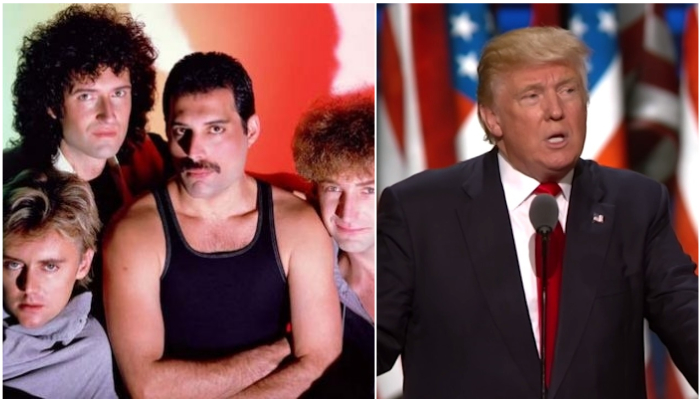 "Queen force removal of Donald Trump ""We Will Rock You"" campaign tweet"