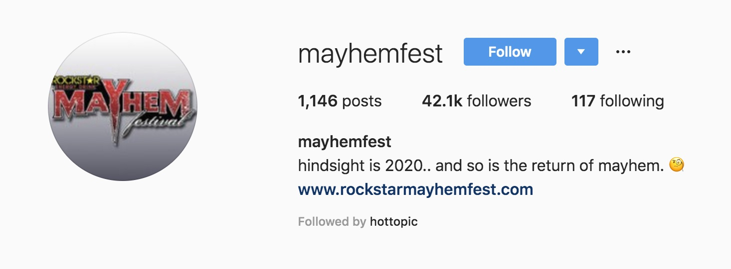 Mayhem Festival 2020.Is Mayhem Festival Finally Making A Return In 2020