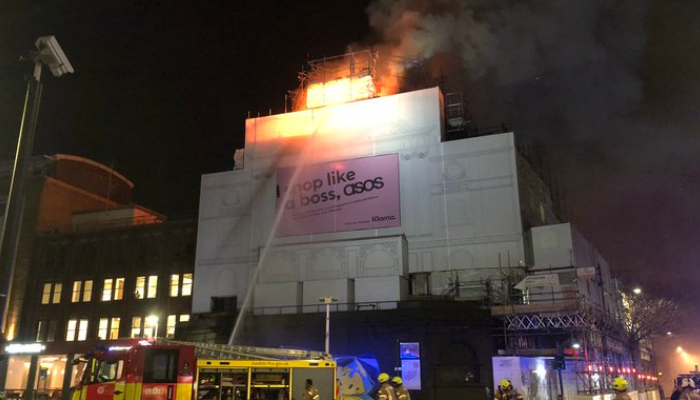 London's iconic KOKO nightclub is engulfed in flames during restoration effort