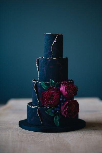 black flower cake