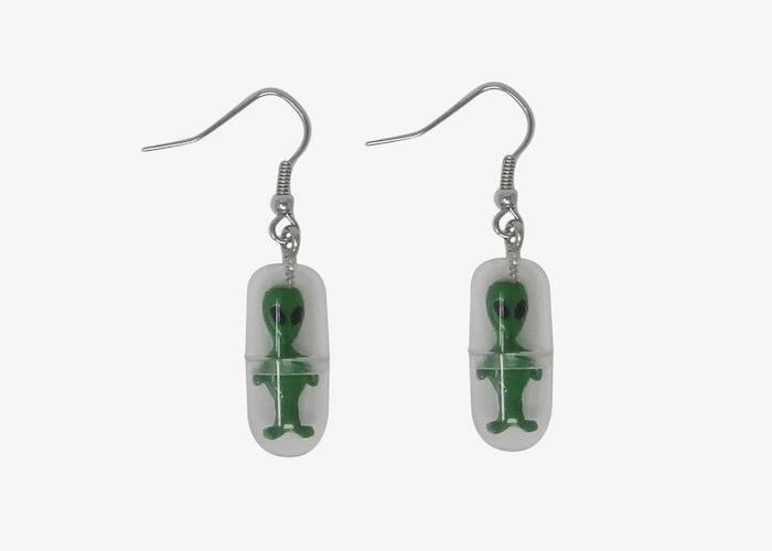 Alien capsule dangle earrings