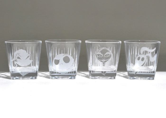 The Nightmare Before Christmas etched characters rocks glass set