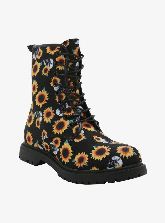 Sunflowers & skulls combat boots