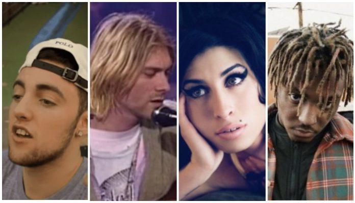 young musician deaths, mac miller, kurt cobain, amy winehouse, juice wrld