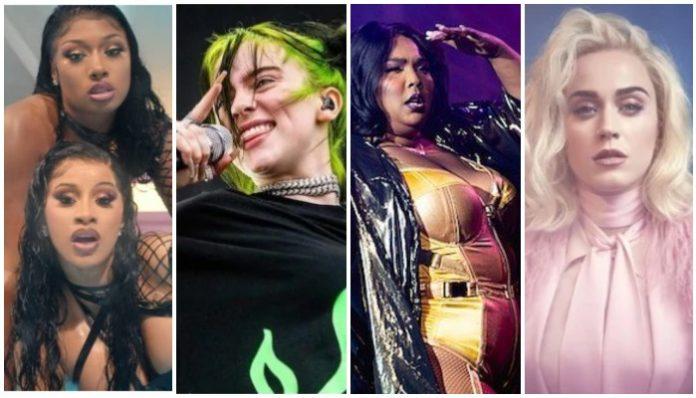 female artists breaking records, lizzo, billie eilish, cardi b, megan thee stallion, katy perry