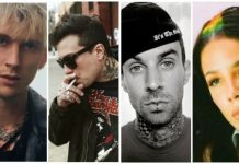 musician tattoos, machine gun kelly, frank iero, travis barker, halsey