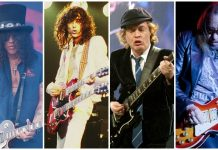 Slash, Jimmy Page, Angus Young, and Ace Frehley counterfeit guitars