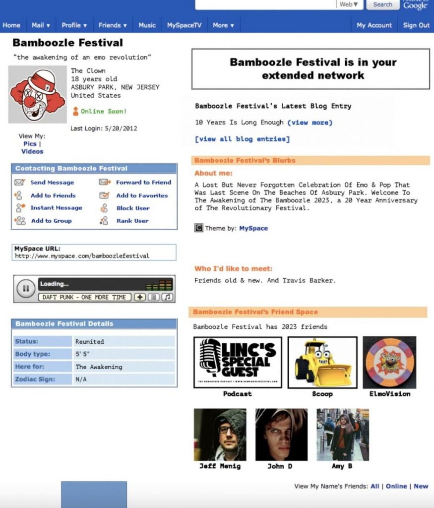 Bamboozle Myspace website-min