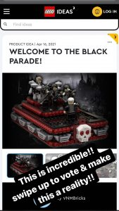 Help make this iconic My Chemical Romance LEGO design a reality